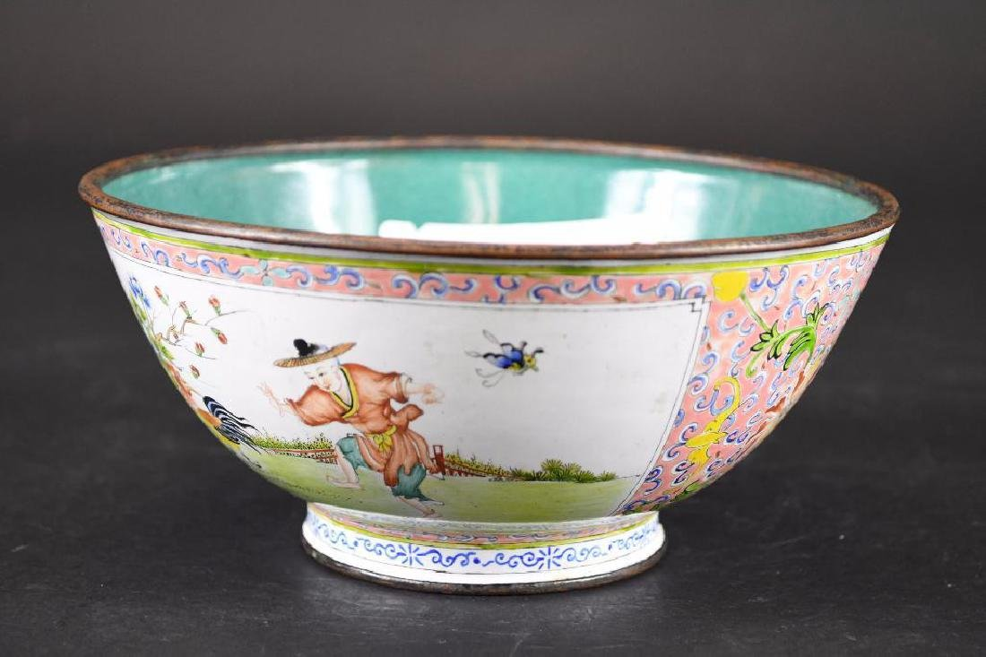 Antique Chinese Copper Enamel Hand Painted Footed Bowl
