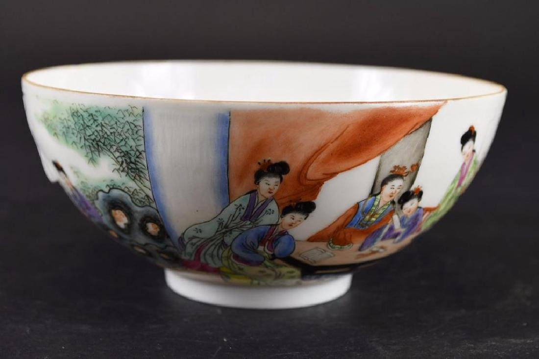 Chinese Hand Enamel Painted Porcelain Footed Bowl