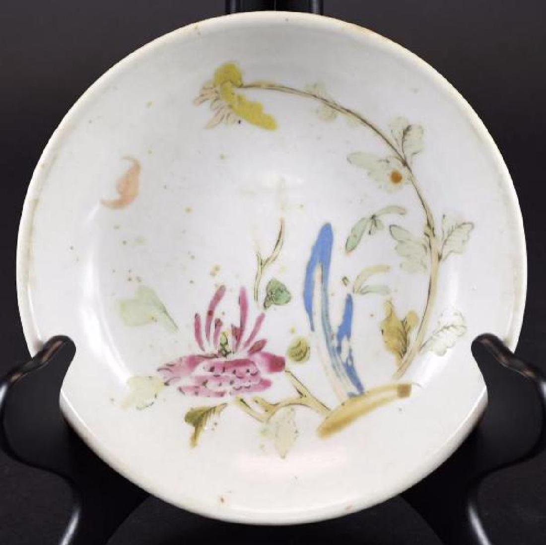 Antique Chinese Hand Enamel Painted Porcelain Footed Bo