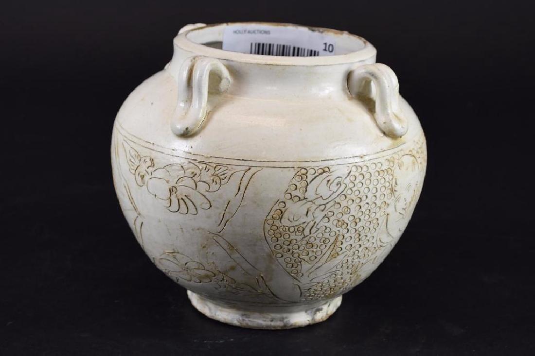 Chinese White Glaze Vase with Incised Decoration