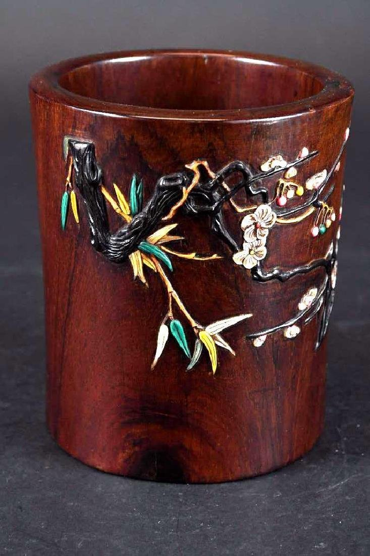 Chinese Hardwood Applique Brush Pot