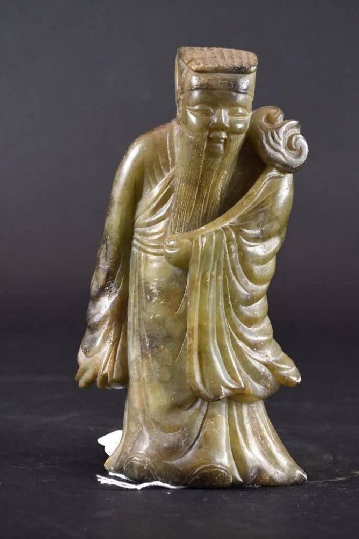 Chinese Carved Soapstone Statue of Lohan