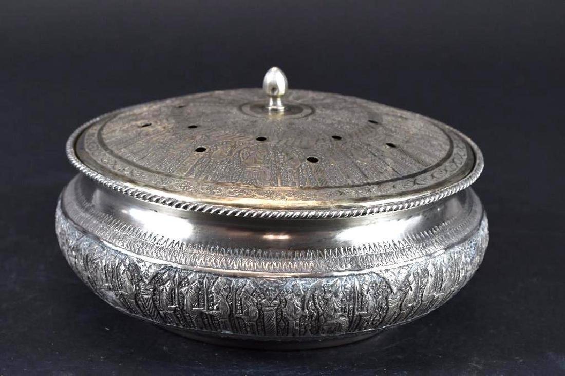 Persian Silver Repousse Lidded Dish