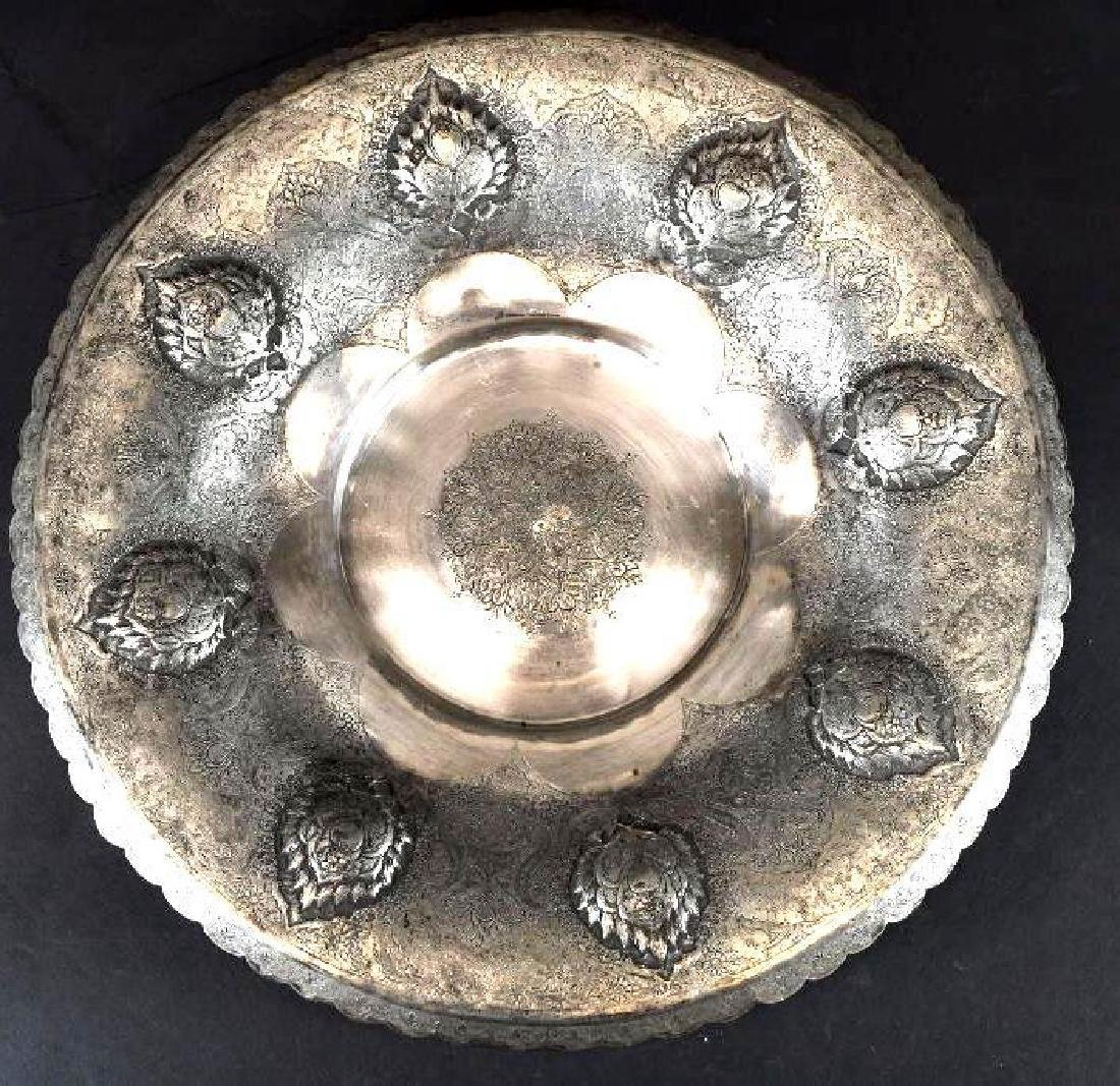 One Persian Silver Repousse Footed Bowl & Copper Repous