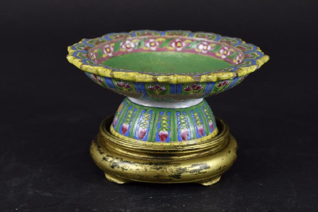 Chinese Famille Verte Footed Bowl & Stand