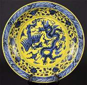 Chinese Yellow Ground  Blue Glaze Dragon Charger