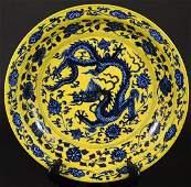 Chinese Yellow Ground  Underglaze Blue Dragon Charger