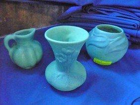 """5B: 4Pcs. Van Briggle:  Vase w/ raised tulips, 5"""";"""