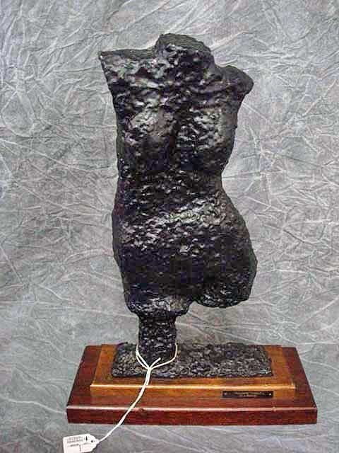 12: Sculpture- Square Torso - Bronze with wood