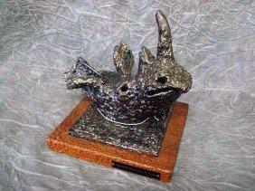 "14: Sculpture- ""Essence of Rhinoceros"" - Steel, 9""H,"