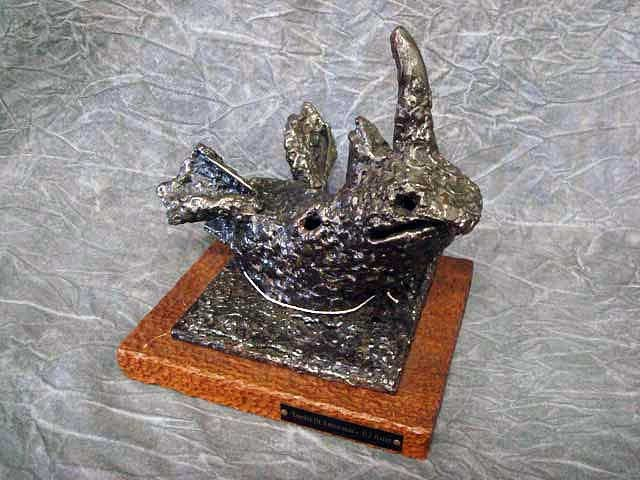 "14: Sculpture- ""Essence of Rhinoceros"" - Steel, 9""H,"