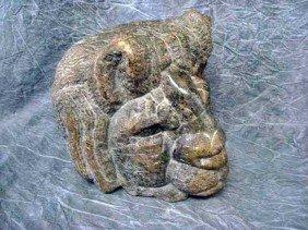 """Sculpture - Serpentine Stone, """"Lion"""" 10 1/4""""H,"""