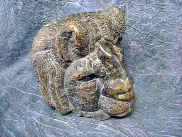 "17: Sculpture - Serpentine Stone, ""Lion"" 10 1/4""H,"