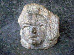 "18: Sculpture - Fieldstone,   ""woman's face"",  11"","