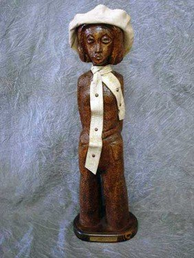 19: Sculpture - wood carving  Female with Hat,