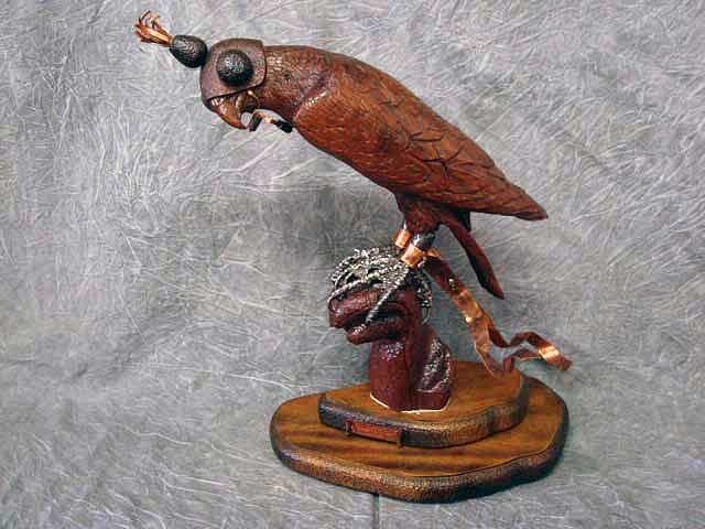 """23: Sculpture -"""" Falconry Peregrine Settling In"""" mixed"""