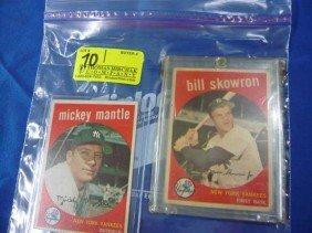(2) Baseball Cards:  1959 Mickey Mantle, 10;