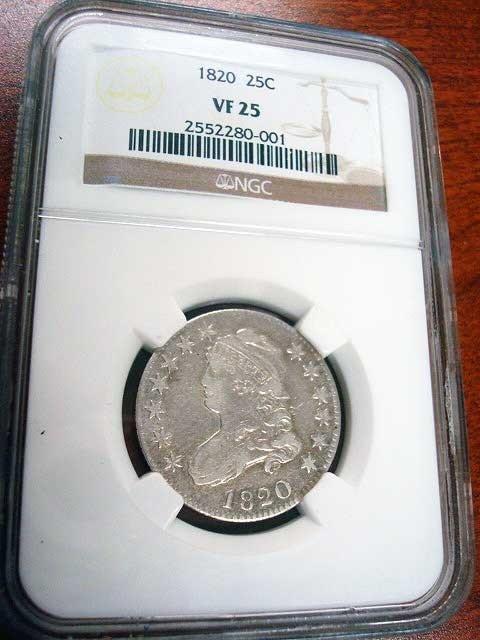 79C: 1820 US Quarter Dollar, NGC VF25