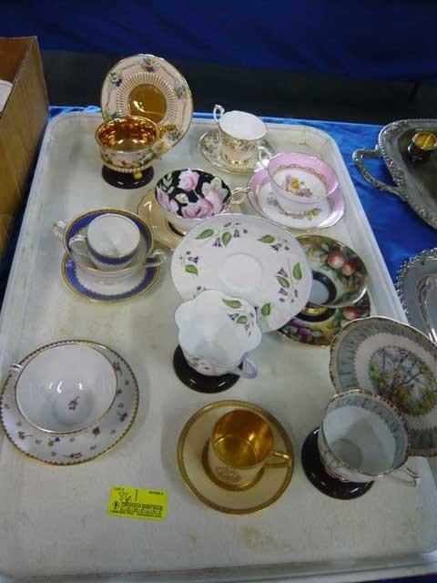 86: Fine cups & sauces (10) inc Limoges, Paragon,