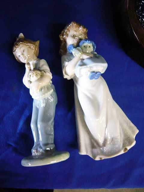 90: (2) Lladro figurines, Girl with Doll,  #505, #347
