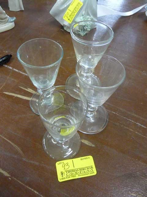 93: 4 early dram glasses (2 pictures)