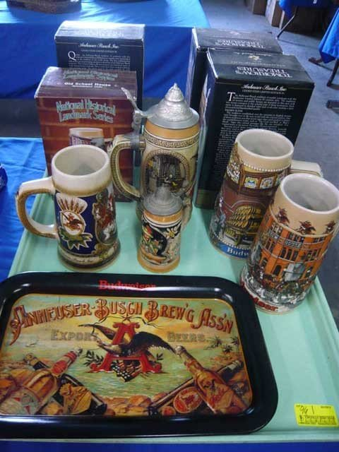 96: Lot of Anheuser Busch collectibles, tin tray, (9)