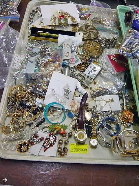97: Tray lot, costume jewelry inc watches