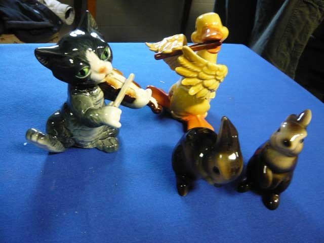 126: (4) Goebel Animals:  Cat and the Fiddle, Duck