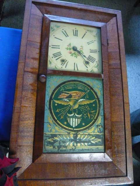 "128: Mahogany Empire Clock, Bristol CT, 1842, ""Oliver"