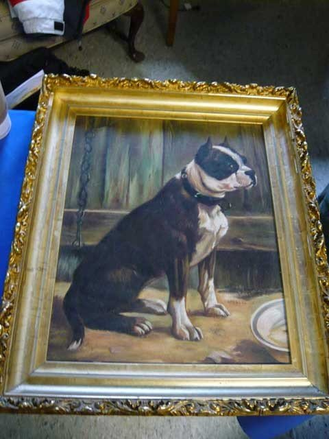 "142: Oil on Canvas ""Boston Terrier"" 15 1/4 x 12 1/4 """