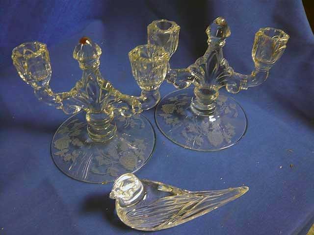 146: Pair of Elegant Depression Glass Candlesticks &