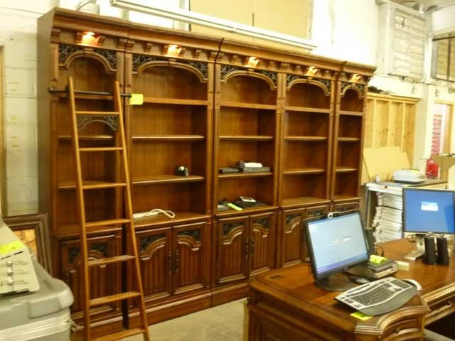 302: Five Section Library Bookcase with ladder,