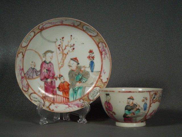3: Chinese 18th century Mandarin Tea Bowl and Saucer