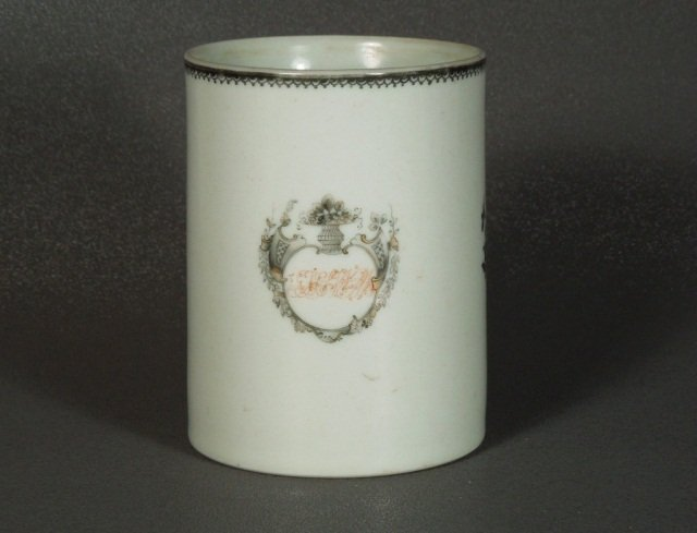 10: Chinese Export Armorial Grisaille Mug