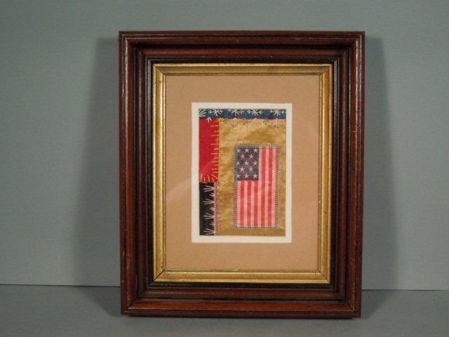 15: American 13 Star Flag Folk Art Quilt Fragment