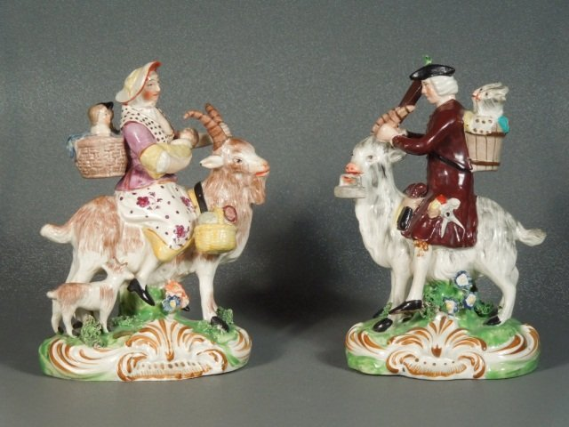 19: Rare Early Staffordshire-Derby Welsh Tailor & Wife