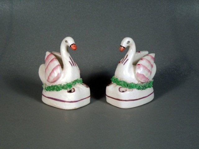 21: Victorian Staffordshire Swan Inkwells