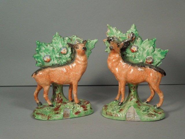 24: Antique Staffordshire Deer Figures circa 1820