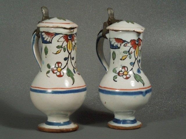 73: Pr of 18th century Delft Polychrome Majolica Ewers