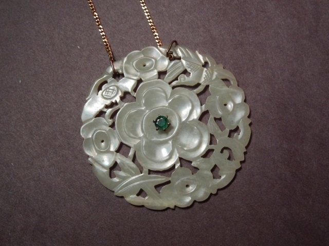 78: Antique Chinese Estate 14K Jade & Emerald Pendant