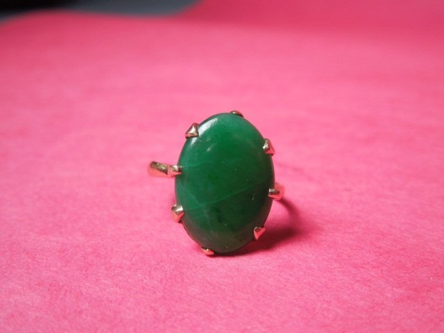 80: Antique Estate Jade & 18K gold marked Ring