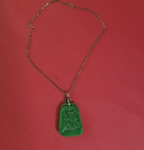 81: Estate Chinese Silver and Carved Jade Pendant