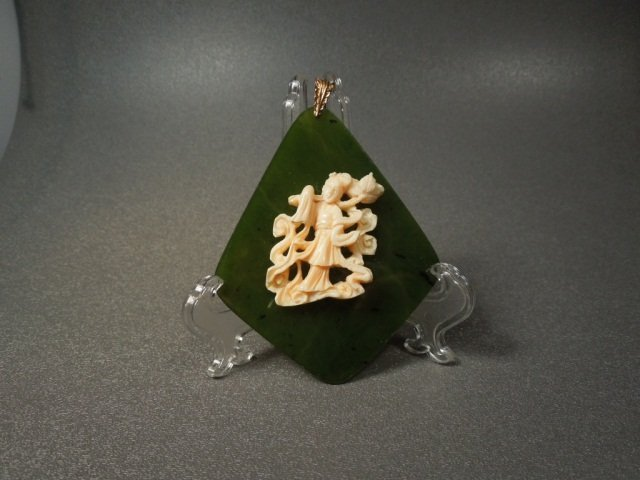 87: Chinese Ivory,Jade and Gold Pendant 1920's