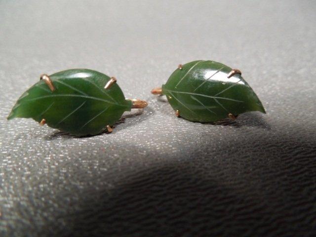88: Jade Estate Chinese 18 Karat Gold Earrings