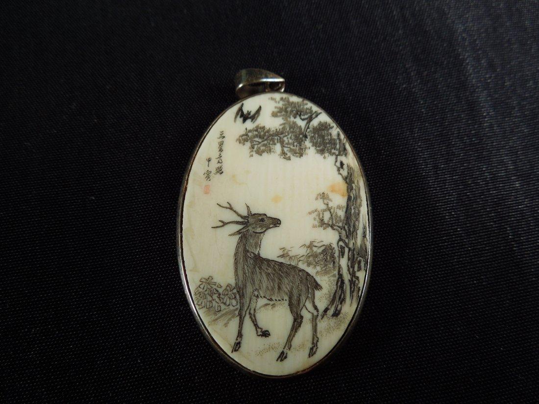 90: Fine Chinese Marked Ivory Pendant W/ Poem on back