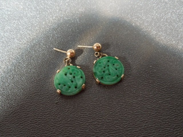 94: Estate Vintage Chinese Jadeite Gold Earrings