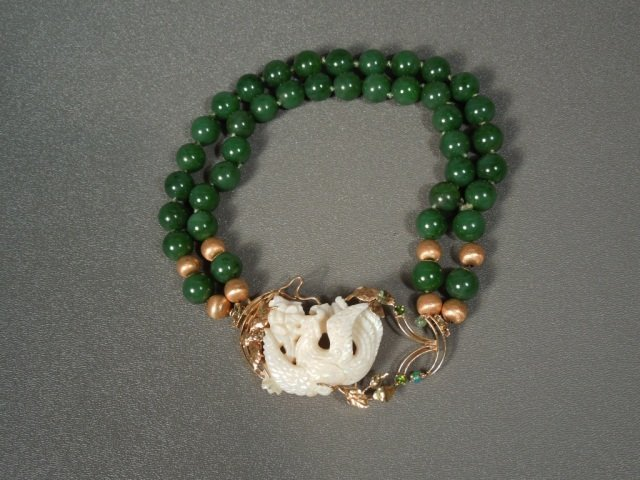 96: Important Chinese White Jade Phoenix Gold Necklace