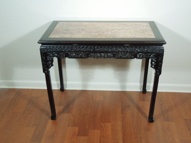 157: Chinese Fine Antique Carved Rosewood Table - 2