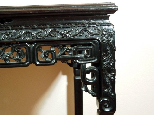 157: Chinese Fine Antique Carved Rosewood Table - 4