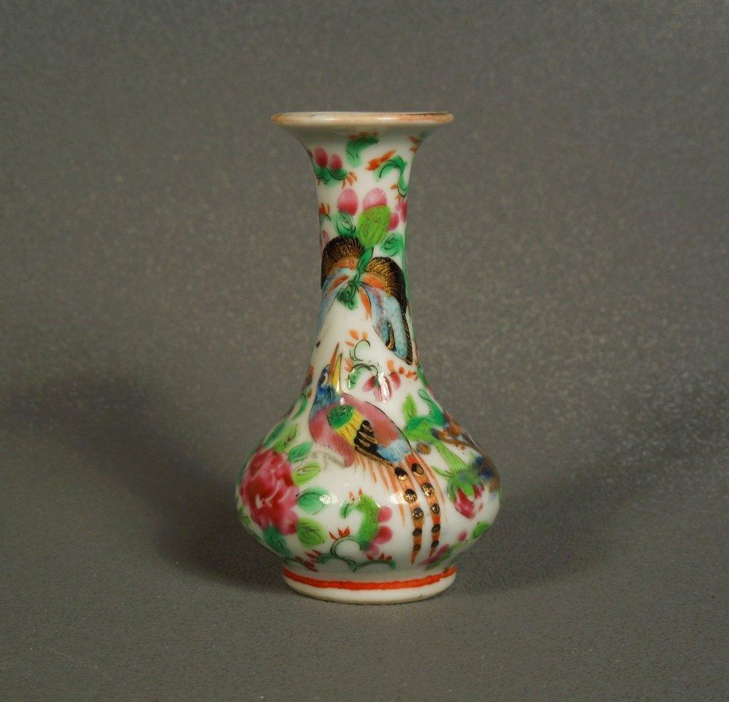2: Chinese 19thc Miniature Rose Canton Clobbered Vase